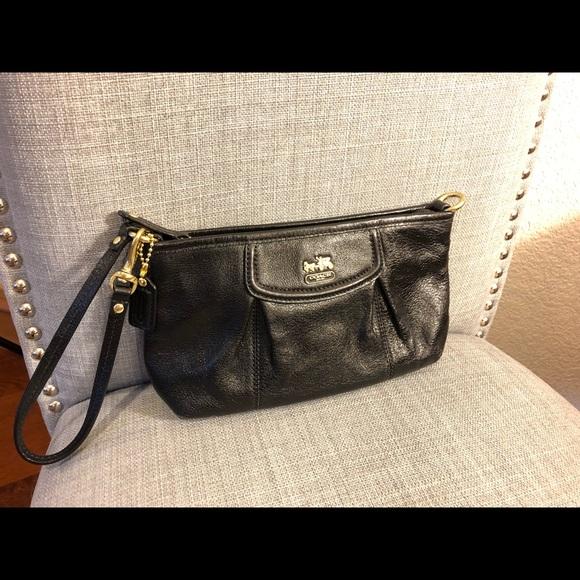 Coach Handbags - Coach Black Leather Clutch - Gold Hardware